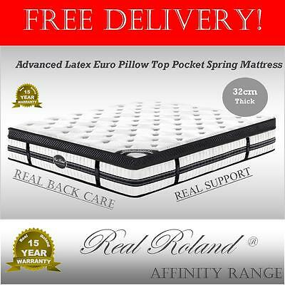 Real Roland Latex Euro Top Pocket Spring Mattress King Queen Double Single 32cm