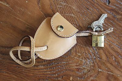 Authentic Gucci Brass Body Padlock Lock w/  Keys Luggage Purse Leather Pouch