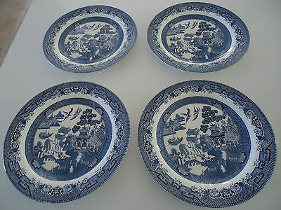 4 churchill blue willow pattern dinner plates  england 26cm new