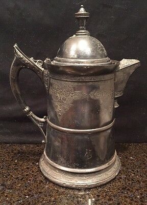 Antique Derby Silver Co Quadruple Plate Aesthetic Water Pitcher Ornate