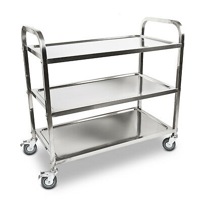 Stainless Steel Kitchen Dining Service Food Utility Trolley Cart Large - 3 Tier
