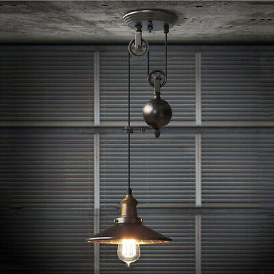 Rustic Vintage Industrial Pulley Ceiling Light Wire Retractable Hanging Lamp NEW