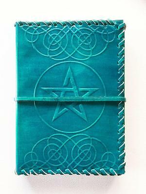 Leather Bound Journal Book Of Shadows Turquoise Pentagram / Pentacle Blank Pages