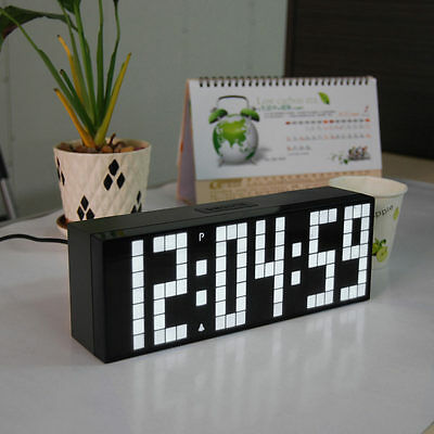 Led Clock Big Screen Large Number 6 Digit Wall Watch Bedsize Alarm Timer Snooze