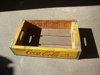 Vintage 1967 Wooden Yellow Coca-Cola Coke Soda Pop Bottle Crate Carrier Box