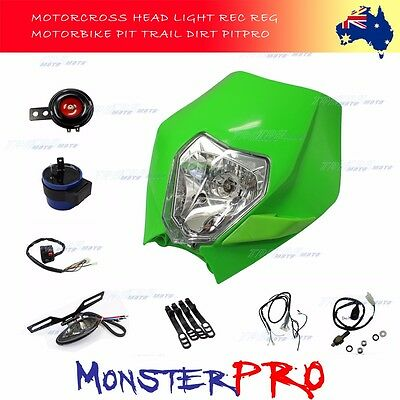 GREEN Reg Rec Tail HeadLight Kit FOR  KTM 125 250 350 450 EXC-F XCF Dirt Trail