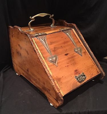 Antique or Vintage Wooden COAL SCUTTLE with Copper hardware and metal insert