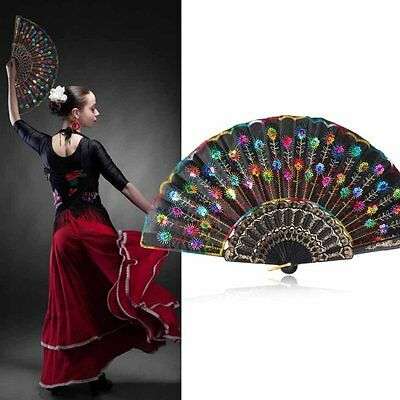 Chinese Retro Folding Hand Fan Peacock Floral Sequins Handheld Party Dacing Fan