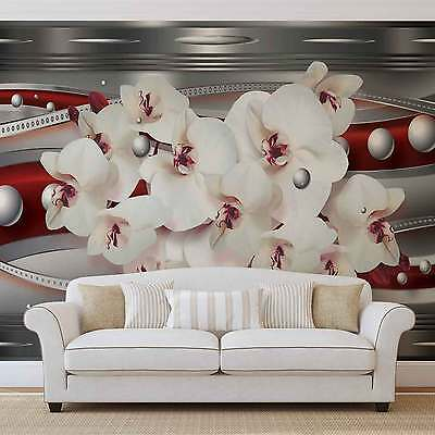 Ribbon Flowers Abstract WALL MURAL PHOTO WALLPAPER (1562DK)