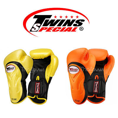 New Twins Special Muay Thai Trainning Boxing Gloves BGVL-6 Leather Strap 12 oz.