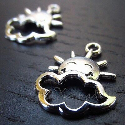Sun And Cloud Silver Lining Antique Silver Plated Charms C5350 - 10, 20 Or 50PCs