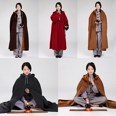 Thickened Warm Buddhist Meditation Zen Monk Lay Cloak Long Robe Gown 4 Colors