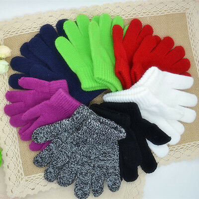 Children Winter Badge Knitted Gloves Boy Kids Outdoor Warm Sports Full Mittens