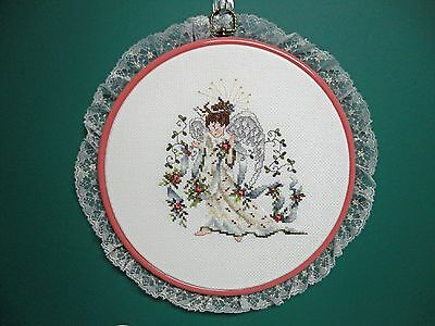 """Wall Hanging-Cross Stitch """"Rose Angel"""" (Completed)"""