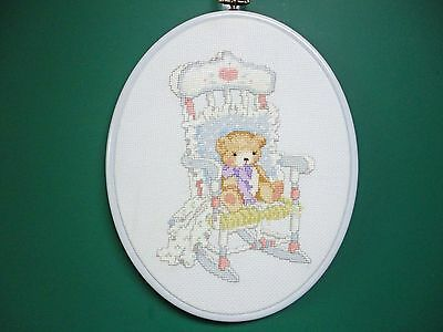 "Wall Hanging-Cross Stitch ""Rocking Chair Bear"" (Completed)"