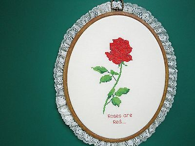 """Wall Hanging-Cross Stitch """"Single Rose"""" (Completed)"""