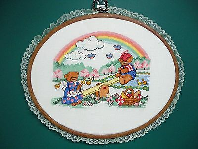 "Wall Hanging-Cross Stitch ""See-Saw Teddies"" (Completed)"