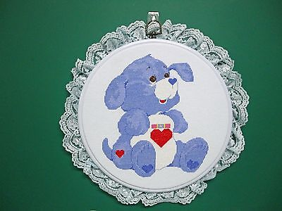 "Wall Hanging-Cross Stitch  ""Loyal Heart Dog Care Bear"" (Completed)"