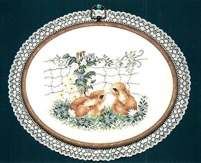 """Wall Hanging-Cross Stitch """"Baby Bunnies"""" (Completed)"""