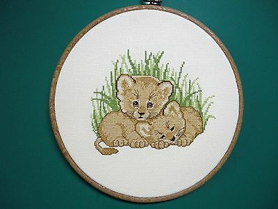 "Wall Hanging-Cross Stitch ""Baby Cubs"" (Completed)"