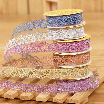 Glitter Lace Sticky Paper SELF Adhesive Washi Tape Sticker Scrapbooking Decors