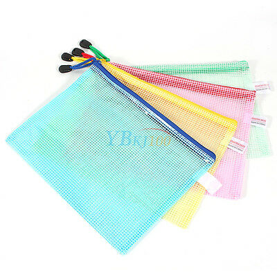 12pcs A5 Plastic Mesh Zipper Bags Zip File Storage Document Folder Waterproof