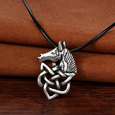 Antique Silver Plt Celtic Knot Horse Pendant Necklace Viking Norse Slavic