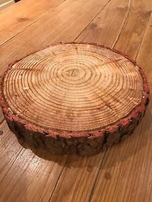 """Christmas cake or Decoration Log board, real rustic log stand 12"""""""
