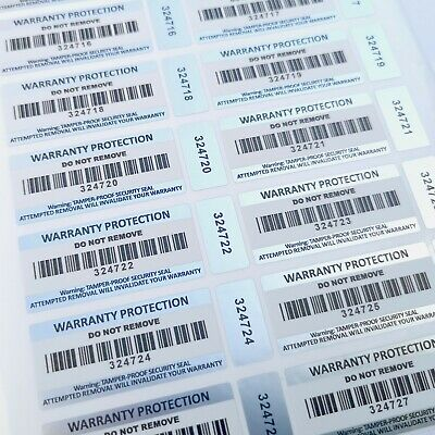 Tamper Proof Warranty Void Stickers Security Seal Barcode Double Labels