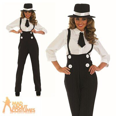 Ladies Gangster Costume 1920s Lady Mobster Fancy Dress Pinstripe Suit Outfit