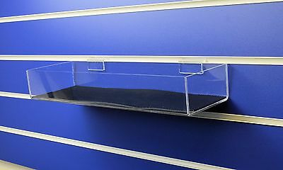 2 x Slatwall Shelf / Tray 400mm Wide with Rubber non slip lining