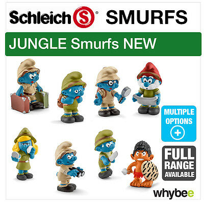 New! Schleich 2016 Jungle Smurf Characters Figures Full Range Of Figurines