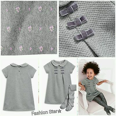 New*bnwt Next Baby Girl 3-6-9-12-18-24 Months  Glittery Bow Dress & Tights Set