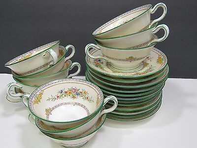 10 Antq MINTON Stanwood Cups and Saucers Green Trim B1117 1928