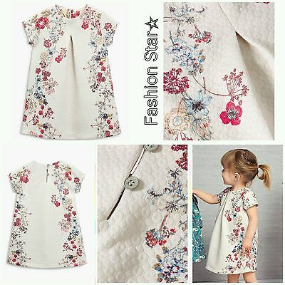 New* Bnwt Next Baby Girl 4-5 Years Ecru Print Ponte Floral Dress Outfit