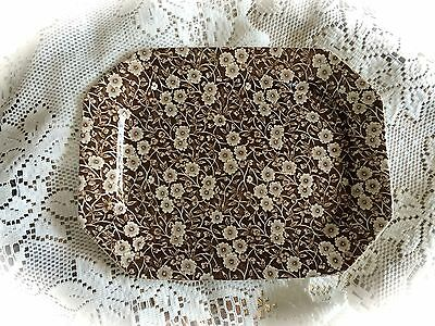 Crownford China Staffordshire Calico England Brown Sandwich Tray Serving Platter