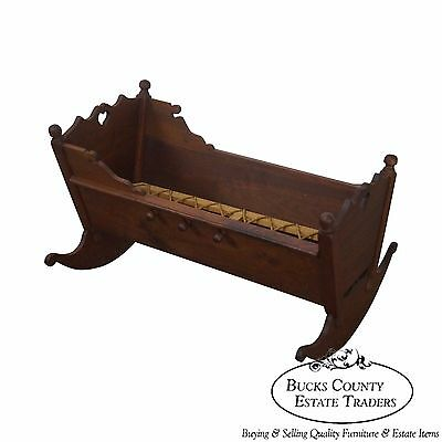 18th Century Style Bench Made Solid Walnut Cradle by Alvin Rothenberger