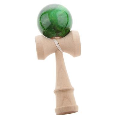 Green Wood Marble Kendama Japanese Traditional Game Skillful Wooden Toy