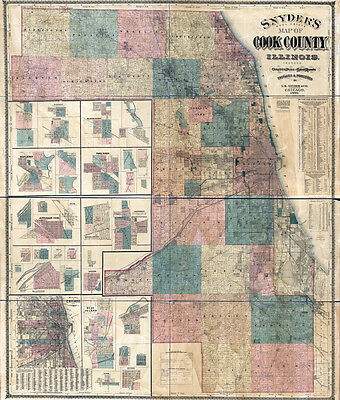 1886 Map of Cook County Illinois