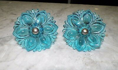 Vintage Turquoise Color Glass Floral Design Curtain Tie Backs Pair (2)