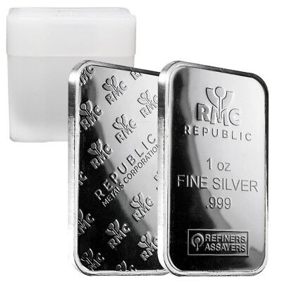 Roll of 20 - 1 oz Republic Metals (RMC) Silver Bar .999 Fine (Tube,Lot of 20)