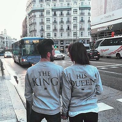 Stylish Couple Matching Hoodies King and Queen Print Casual Pullover Sweatshirt
