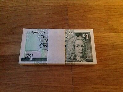 Royal Bank of Scotland 100 One Pound Notes Uncirculated & Consecutive Nos. 2001.
