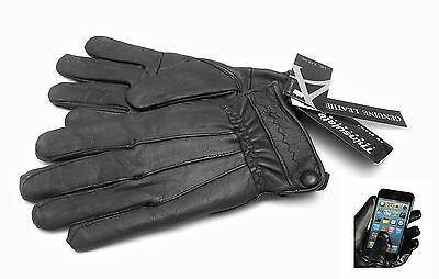 Touch Screen Ladies Real Leather Gloves Black Fleece Lined Driving Soft Winter