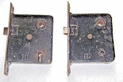 2 Antique Door Mortise Locks with Face Plates