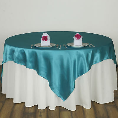 "Turquoise 60x60"" SATIN SQUARE TABLE OVERLAY Wedding Catering Supplies SALE"