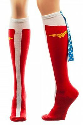 Wonder Woman DC Comics Licensed Caped Boot Knee High Socks with stars