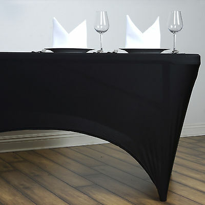 Black 6 ft RECTANGLE SPANDEX STRETCH TABLE COVER Fitted Tablecloth Wedding Party