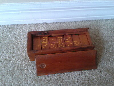 Vintage Wooden Dominoes Set Made Of Wood And Box 28 Dominoes