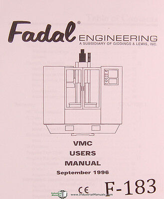 Fadal VMC Users Programming,506 Page, Vertical Machining Center Manual 1996